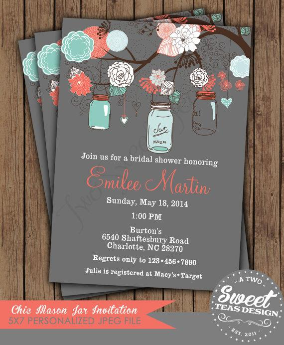 vintage shabby chic french country mason jar shower baby bridal wedding invitation digital printable coral turquoise - Coral And Grey Wedding Invitations