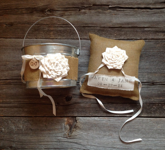 Mariage - Personalized Burlap Ring Bearer Pillow and Flower Girl Pail, Flower Girl Pail, Ring Pillows, Burlap Wedding, Burlap Ring Bearer