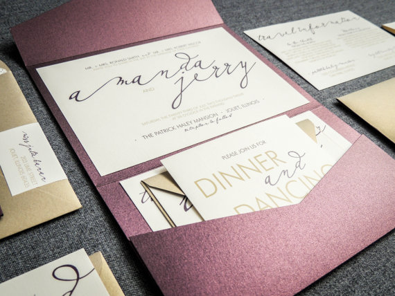 Modern Wedding Invitations Metallic Invitation Eggplant Purple Gold Calligraphy Pocketfold No Layers V1 Sample