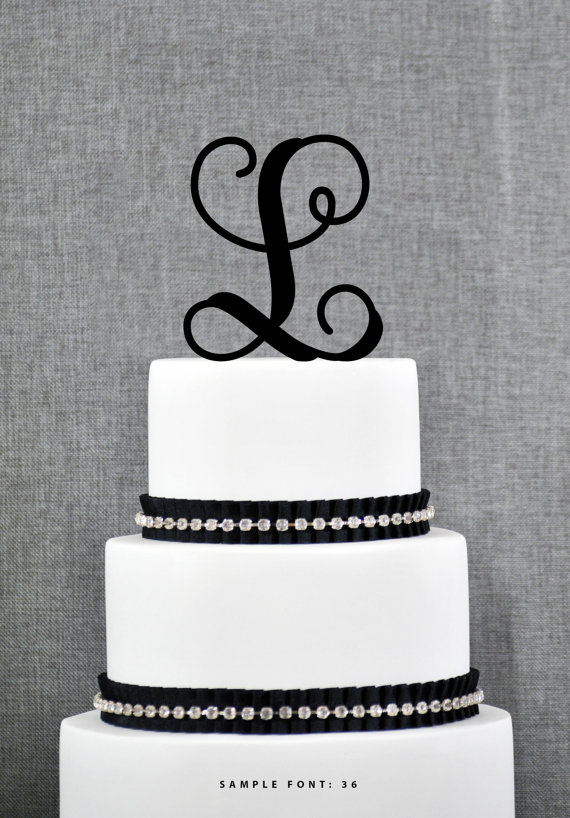 Mariage - Personalized Monogram Initial Wedding Cake Toppers -Letter L, Custom Monogram Cake Toppers, Unique Cake Toppers, Traditional Initial Toppers