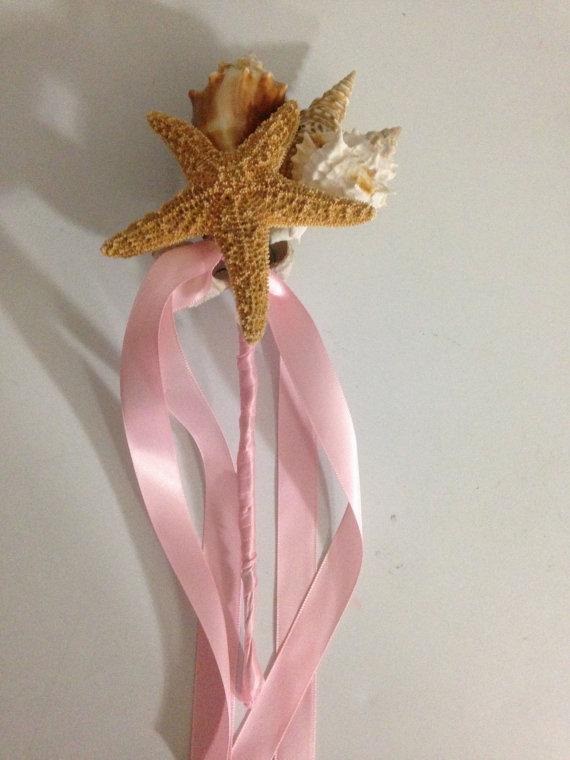 Свадьба - Beach Wedding Seashell Wand Bouquet for Bride Bridesmaids or Flowergirl
