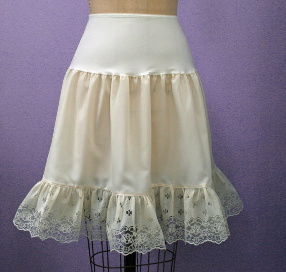 Свадьба - Vintage Lace Petticoat,  Dress Extender, Poly Slip, custom made to your size and length