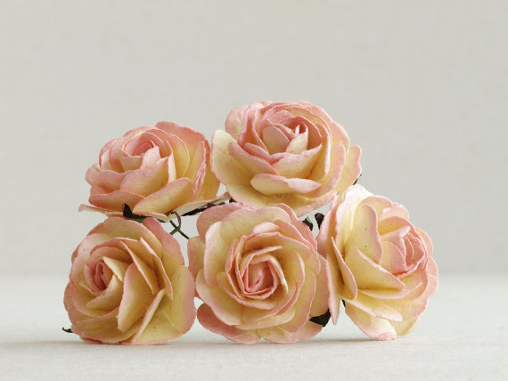 Свадьба - 35mm Ombre Peach Paper Roses (5pcs) - Large mulberry paper flowers with wire stems - Ideal for wedding decoration [525]