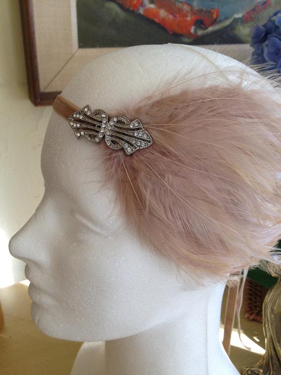 Wedding - ON SALE / Gatsby Wedding Headpiece, Beige OR Cream Feather, Great Gatsby Headband for 1920s dresses, Flapper Headpieces