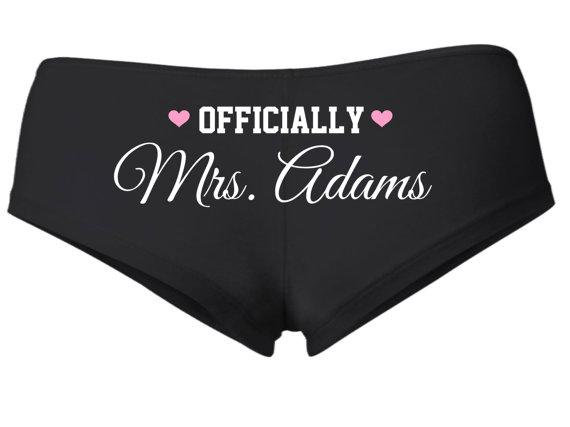 Свадьба - HONEYMOON SHORTIES, New Bride Underwear, Officially Mrs, Just Married Underwear