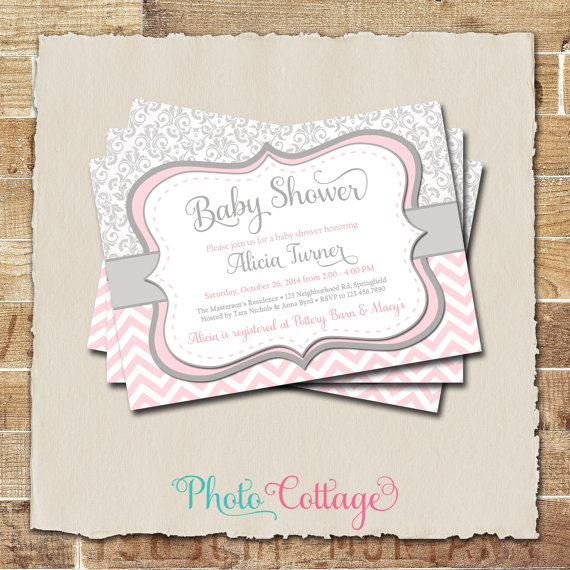 Pink U0026 Gray Girl Baby Shower Invitation, Damask And Chevron Invitation,  Light Pink Invitations, Grey Invites, Baby Girl Invitation, BBS117