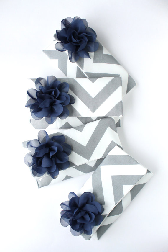 Mariage - Set of 4 Gray Chevron Clutches with Navy Flower Bow, Customized Bridesmaid Bags in Wedding Colors