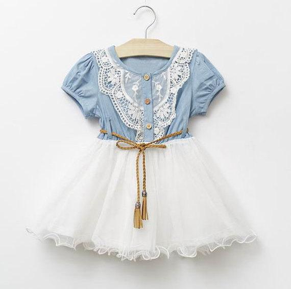 Wedding - Girls Denim Tutu Flower Girl Dress,Toddler Denim Dress, Cowgirl Dress, Country Flower Girl Dress, Denim Tutu Dress,Girls Birhday Dress.