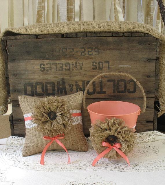 Mariage - Flower Girl Basket Ring Bearer Pillow Shabby Chic Wedding Rustic Wedding Coral