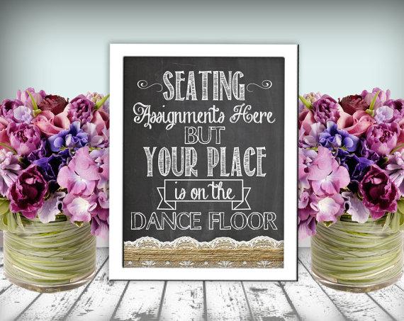 Wedding Seating Dance Floor Sign Chalkboard Printable 8x10 PDF DIY ...