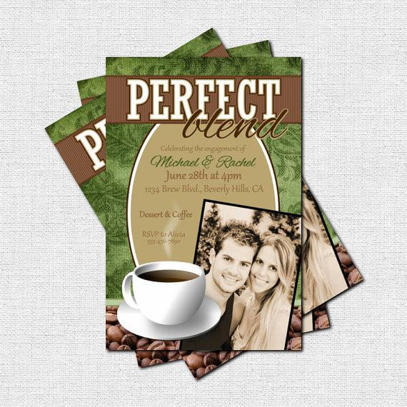 personalized perfect blend coffee bridal shower or engagement party invitations printable