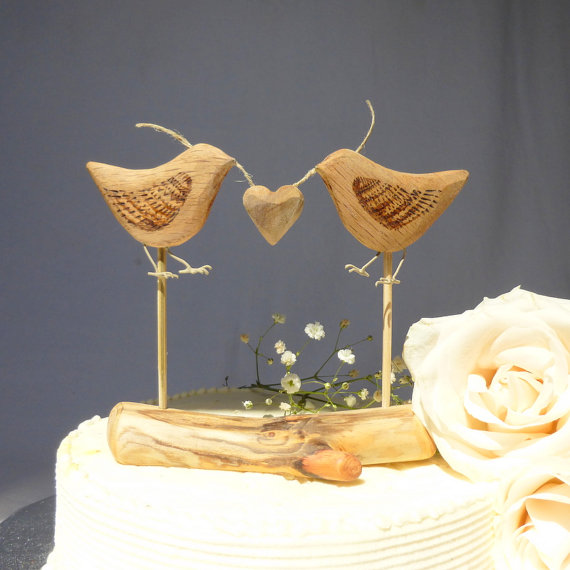 Natural Wood Wedding Cake Topper, Love Birds, Rustic Cake Topper ...
