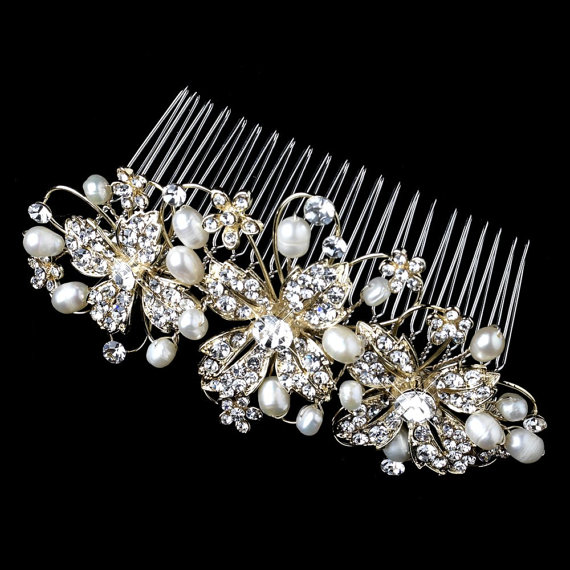 Mariage - Gold Bridal hair comb, Pearl Hair comb, Wedding hair comb, Freshwater pearl comb, Rhinestone hair comb, Wedding headpiece, Hair accessory