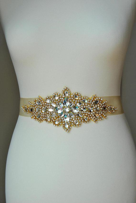 Mariage - Luxury Gold Crystal Bridal Sash,Wedding Dress Sash Belt, Rhinestone Sash, Rhinestone Bridal Bridesmaid Sash Belt, Wedding dress sash