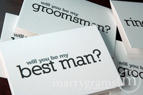 Mariage - Will You Be My Groomsman Card, Best Man, Usher, Ring Bearer Guys Wedding party - Simple Way for Guys to Ask Groomsmen Cards (Set of 7)
