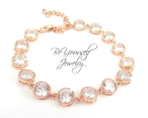 Свадьба - Rose Gold Bridal Bracelet Cubic Zirconia Bracelet Sparkly White Crystal Tennis Bracelet Wedding Jewelry Bridesmaid Gift Pink Gold Bracelet