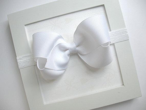 Mariage - White Bow Headband, Baptism Headband, Newborn Baby Headband, Christening Headband, First Communion Bow, Flower Girl Accessories, Baby Bows