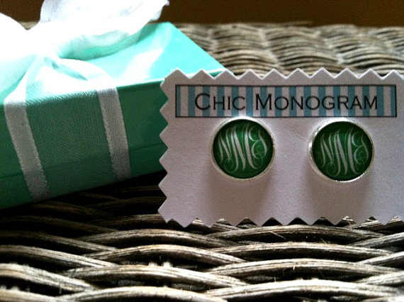 Mariage - Classic Monogrammed Earrings In Your Choice of Colors and Fonts Monogrammed Gifts Monogrammed Jewelry Silver Monogrammed Earrings
