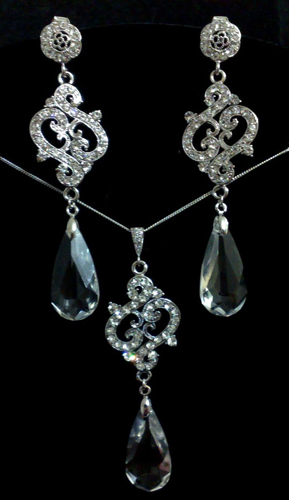 Mariage - SALE - Bridal Jewelry Set, Crystal Teardrop Earrings, Swirl Necklace, Swarovski Wedding Jewelry, VIENNA