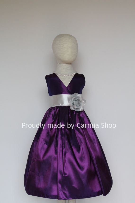 Charcoal Silver Flower Girl Dresses Sangria Violet 6682 FVN01 Easter Wedding Communion Princess Party Toddler Baby Infant Kids Teen Sale