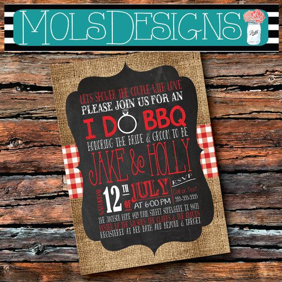 Wedding - ANY Color I DO BBQ Burlap Red Gingham Wedding Shower Country Barbecue Chalkboard Surprise Birthday Baby Bridal Rehearsal Dinner Invitation