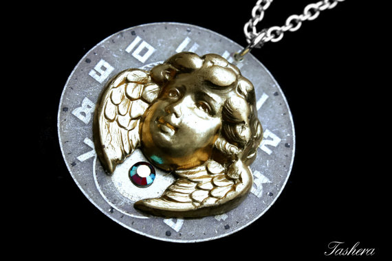 pocket and crystal chain steampunk jewelry statement movement silver aquamarine watch necklace blue with pendant clockwork