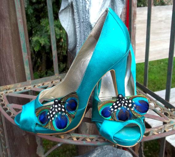 Mariage - Peacock Shoe Clips - set of 2 -  Bridal Shoe Clips, Wedding Shoe Clips womens, girls, bridesmaids