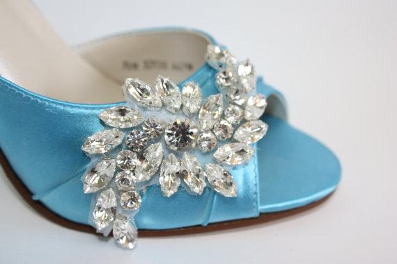 زفاف - Wedding Shoes - 100 Colors - Peep Toes - Swarovski Crystal - Choose Heel Height - Bling Bridal Shoe - Custom Color Wedding Shoes By Parisxox