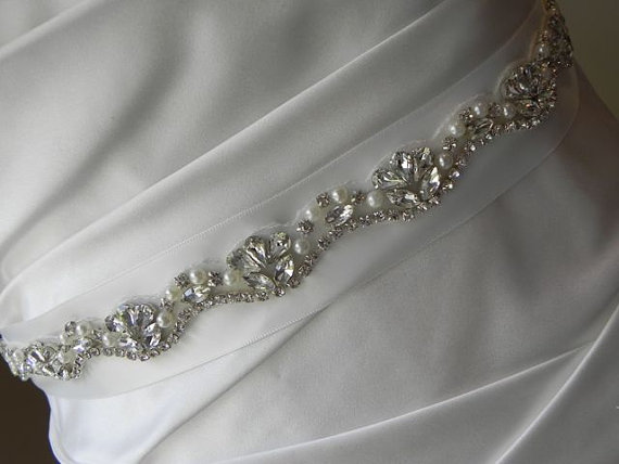 Hochzeit - Understated Pearl and Rhinestone  Bridal Sash - Wedding Dress Belt