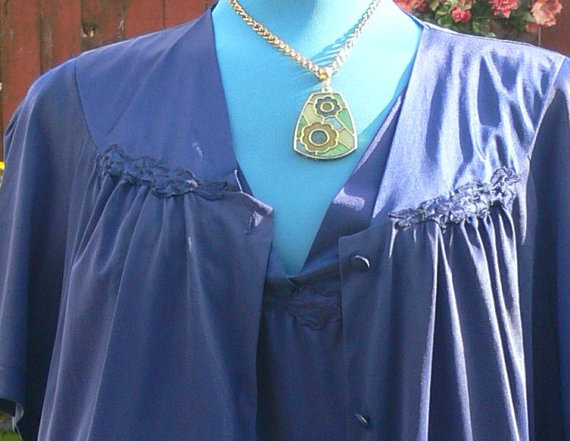 Свадьба - Navy blue night gown and short robe size xxl  plus size