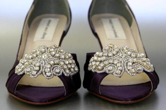 زفاف - Wedding Shoes -- Eggplant Peep Toe Wedding Shoes with Rhinestone Applique