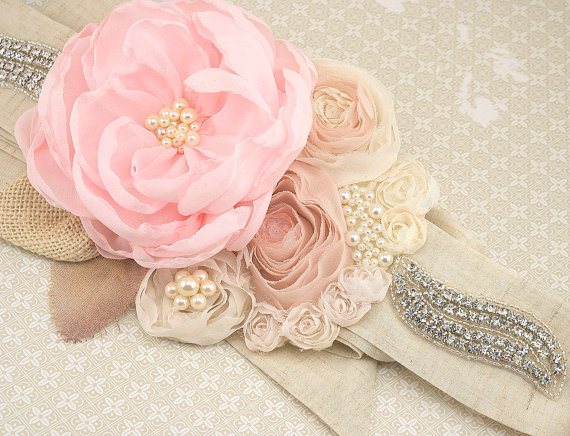 Mariage - Bridal Sash, Wedding Sash, Rustic Wedding in Pink, Blush Pink, Nude and Ivory with Chiffon, Linen, Crystals, Pearls and Burlap