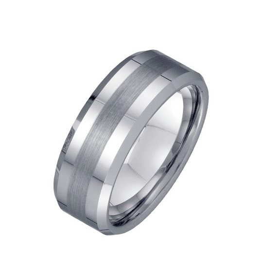 Mariage - Mens 8mm Tungsten Wedding Band - Brushed line Custom Ring Engravable - Men's Engagement Anniversary Ring