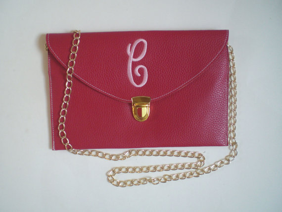 زفاف - Initial Monogram Clutch Purse Crossbody Detachable Metal Chain Wedding Party Gift, Prom Purse, Birthday Gift