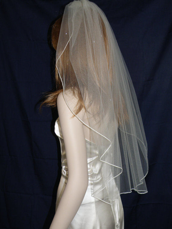 Свадьба - Wedding veil - 30 inch waste length waterfall veil with a finished edge and scattered rhinestones