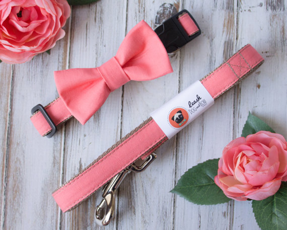 Свадьба - Coral Dog Bow Tie Optional Leash by Dog and Bow Wedding