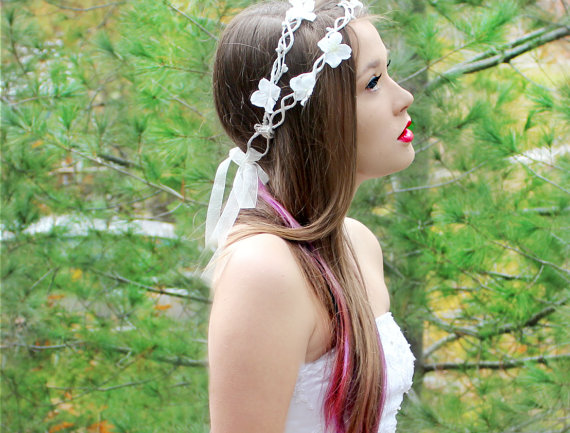 Mariage - Flower Crown, Double, Wedding Headpiece, White, whimsical fairy wedding, bridal accessories, wedding hair  - ASHLEY -