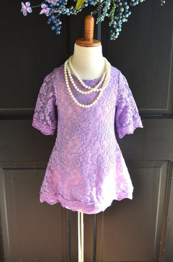 Wedding - Lilac Lavender  Lace Flower Girl Dress, Lavender Lace dress,  Wedding dress, bridesmaid dress,  Vintage Style Dress