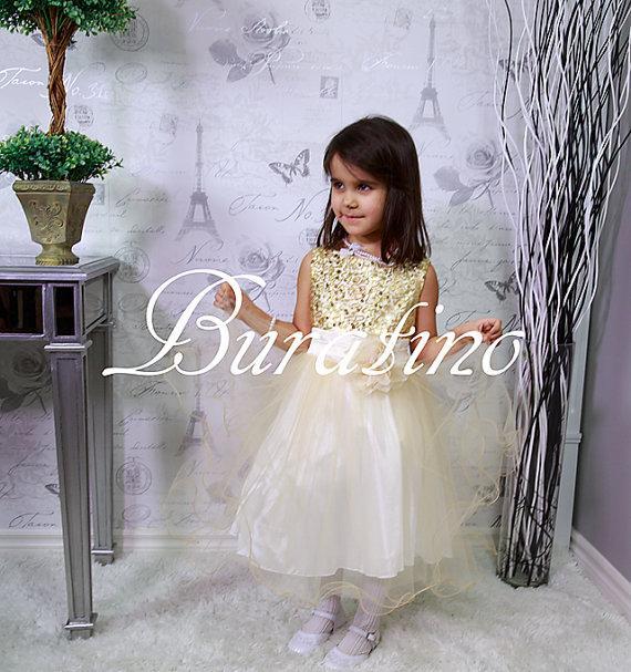 Mariage - Flower Girl dress - Gold Sequin Flower Girl dresses, Special Occasion Wedding Dress (ets0155gld)