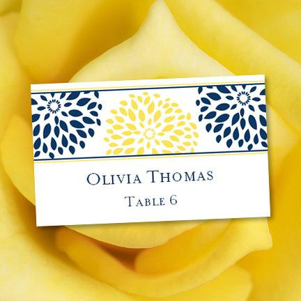 """Wedding - Place Card Printable Template """"Floral Petals"""" Navy & Yellow"""