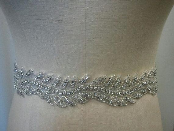 Hochzeit - Wedding Belt, Bridal Belt, Sash Belt, Bridesmaid Belt - Crystal Rhinestone Belt - Style B144