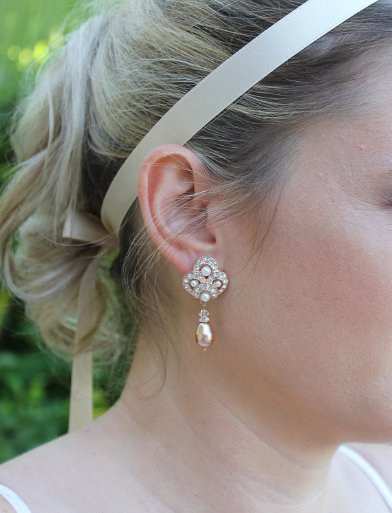 Mariage - ROSE GOLD Bridal Earrings, Pearl and Crystal Wedding Earrings, Bridal Jewelry, Rose Gold Pearl Bridesmaid Earrings MONIQUE