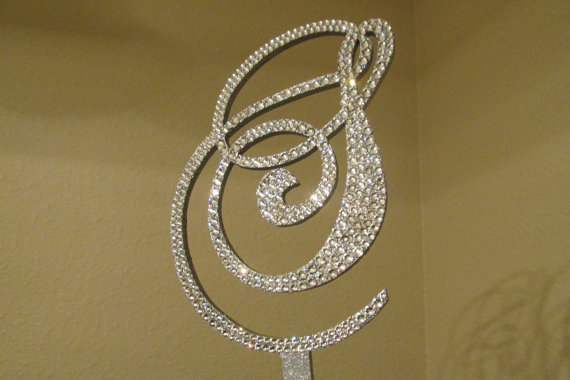 Свадьба - Monogram Wedding Cake Topper Crystal Initial Any Letter A B C D E F G H I J K L M N O P Q R S T U V W X Y Z