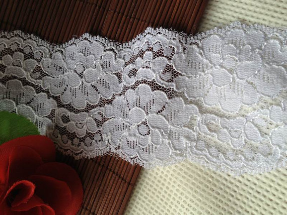 Свадьба - 8 cm wide 1 yard white lace trim, Embroidery trim, Floral trim, Bridal Lace, Lingerie Lace, baby headband
