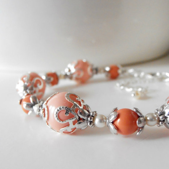 Wedding - Coral Bridal Party Jewelry, Coral Pearl Bracelets in Silver, Beaded Bridesmaid Bracelets, Handmade Wedding Jewelry Sets, Bridesmaid Gifts