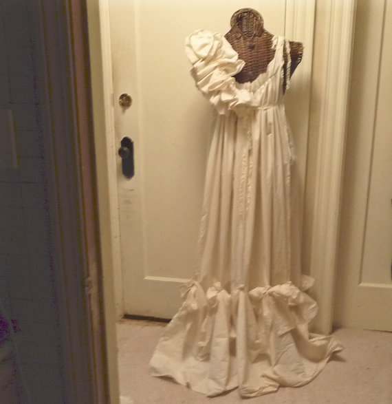 3425fc1994 Romantic Wedding Gown Ruffles and Bows Maxi Bridal Dress Patisserie Ball  Custom Cream or White Vintage Inspired