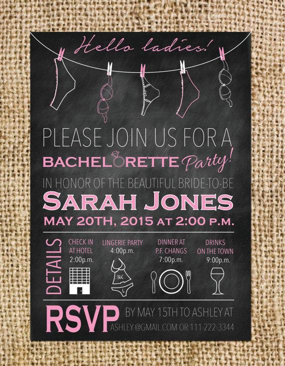 Wedding - Bachelorette or Hen Party Invitation- Printable File- Chalkboard Invite