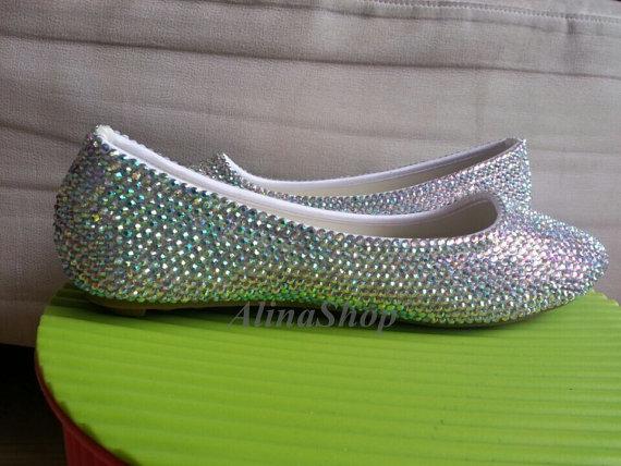 Mariage - bling flat shoes rhinestone wedding flats, rhinestone bridal flats open toe flats closed toe flats custom flats weddingshoes