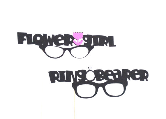 Свадьба - Sale PHOTO PROPS Flower Girl and Ring Bearer Glasses Photo Booth Props Photobooth Props Wedding Party Photographer Props Wedding