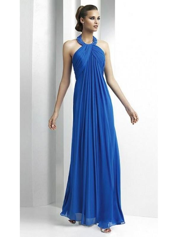 زفاف - A line Halter Chiffon Long Bridesmaid DressesSKU: BM000123